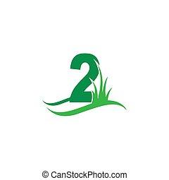zahl, ikone, logo, design, grün, vektor, hinten, 2, gras