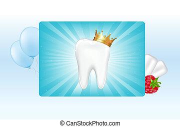 Zahn in Krone und Kaugummi