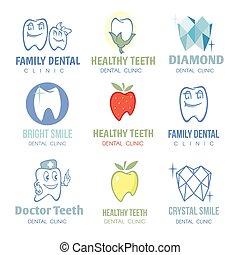 Zahn- und stomatologische Logos Vektorsatz