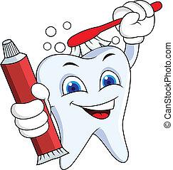 Zahnpasta mit Pinsel und Zahnpasta