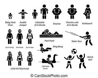 zahnräder, ausrüstung, schwimmender, freizeit, figur, kinder, pictogram., teich, aids, sicherheit, stock, wasser, heiligenbilder, kinder, spielzeuge