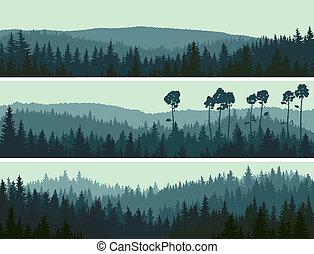 zapfentragend, banner, hügel, wood.