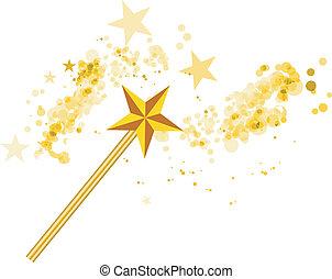 Zauberstab mit magischen Sternen auf weiß