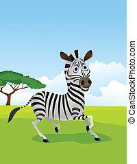 Zebra Cartoon in der Wildnis