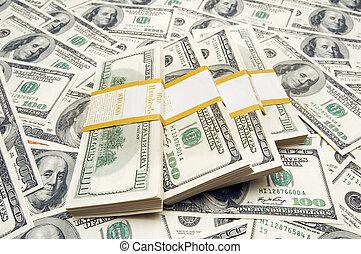 Zehntausend Dollar Stapel im Hintergrund