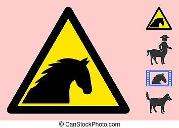 zeichen, dreieck, ikone, vektor, warnung, pferd