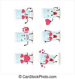 zeichen, emoticon, liebe, glas, wasser, karikatur, reizend