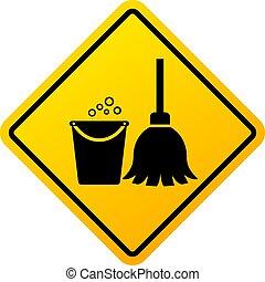 zeichen, fortschritt, putzen, warnung