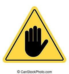 zeichen, halt, gelber , hand