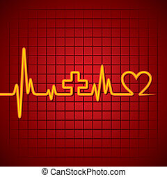 zeichen, &heart, machen, medizin, herzschlag