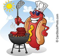 zeichen, heiß, grillen, hund, karikatur