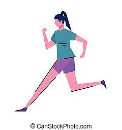 zeichen, junger, rennender , athlet, frau