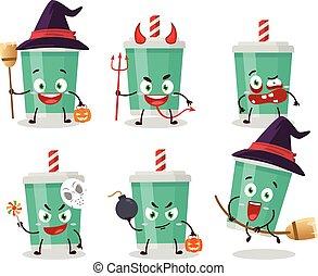 zeichen, karikatur, emoticons, ausdruck, flasche, halloween, soda