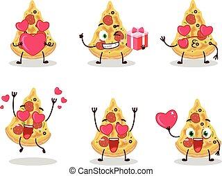zeichen, karikatur, pizza, emoticon, scheibe, reizend, liebe