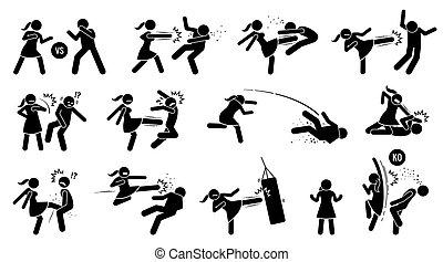 zeichen, klopfen, mann- frau, symbols., figur, stock