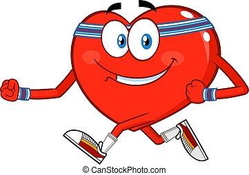 zeichen, lächeln, rennender , karikatur, herz