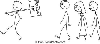zeichen, leute, besitz, manager, vektor, oder, abbildung, führer, geschäftsmann, mir, crowd, gruppe, folgen, mann, karikatur, führen