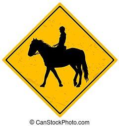 zeichen, reiter, pferd