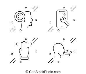 zeichen., schriftsteller, set., reparatur, übung, multitasking, gebärde, smartphone, vektor, heiligenbilder, atmen