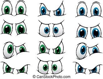 Zeichentrick-Augen mit verschiedenen Ausdrucksformen.