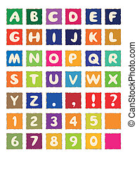 Zeichentrickbuch auf eckfarbenem Papier ABC Schriftart