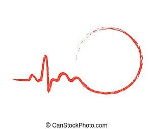 Zeichnete Herzschlag Ikone mit Kreis. Vector Illustration.