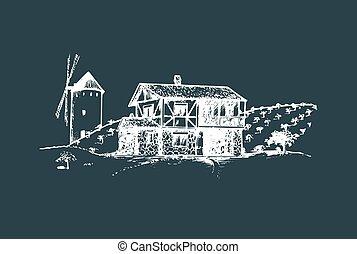 Zeichnung des Dorfes mit Windmühle, Feldern und Bauernhaus. Vector Landlandschaft Illustration.