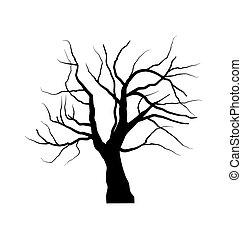 Zeichnung des toten Baumes ohne Blätter , isoliert auf weißem Backgroun.