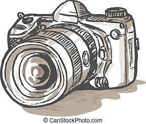 Zeichnung einer digitalen SLR-Kamera
