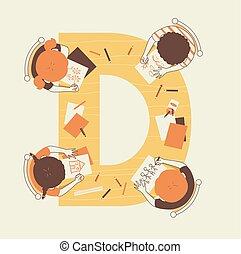 zeichnung, kinder, abbildung, alphabet, schule
