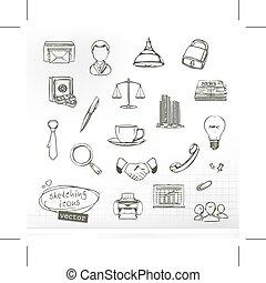 Zeichnungen von Business Icons.