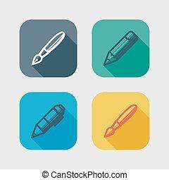 Zeichnungs- und Schreibwerkzeuge. Flat Icons mit langen Schatten