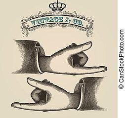 Zeigefinger, retro illustrati