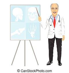 zeigen, doktor, medizin, fällig, tomographie, mann