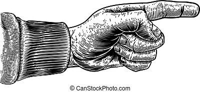 zeigen, stich, holzschnitt, geben richtung, finger