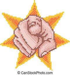 Zeigte Hand Pixelkunst.