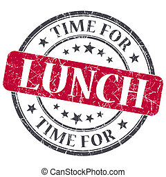 Zeit für das Mittagessen rot grunge Textur-Saft isolierten Stempel.