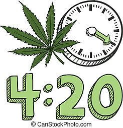Zeit, Marihuana Sketch zu rauchen