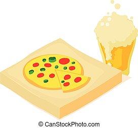 zeit, pizza, stil, ikone, isometrisch