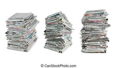Zeitung über weiß