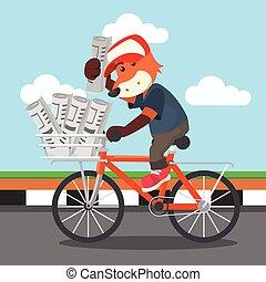 zeitung, fuchs, verkauf, fahrrad
