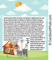 zelle, daheim, ausstellung, diagramm, wie, arbeiten, sonnenkollektoren