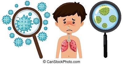 zelle, junge, weißes, coronavirus, krank, hintergrund