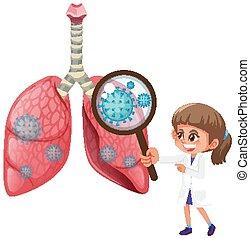 zellen, menschliche , ausstellung, coronavirus, diagramm, lungen