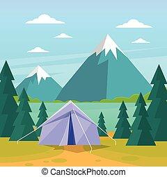 Zelt Camping Tourismus Wald Berg Expedition Wohnung.