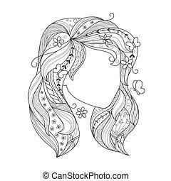 Zen-Art-Mädchen. Portrait einer Frau mit zentangle Haaren für die erwachsene Antistress-Farbe Seite auf weißem Hintergrund.