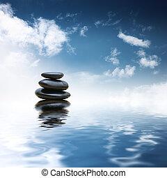 Zen-Steine über Wasser