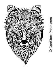 Zendoodle stilisierte dire Wolf.