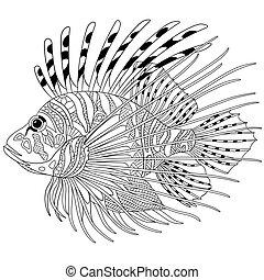 Zentangle stilisierte Fische