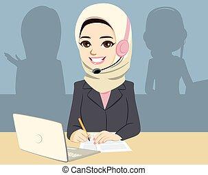 zentrieren, asiatisch, rufen, moslem, frau